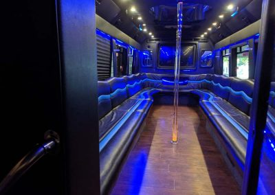 Elite Limo Gallery page- 30 passenger PArty bus- inside