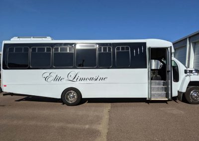 Elite limo- Gallery page- 24 passenger bus outside
