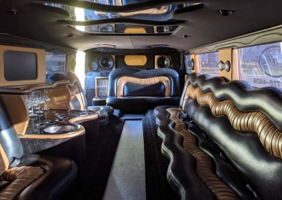Interior seating of 20-passenger Hummer party bus.